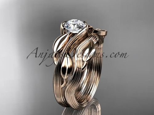"""14kt rose gold leaf and vine wedding ring, engagement set with a """"Forever One"""" Moissanite center stone ADLR273S"""
