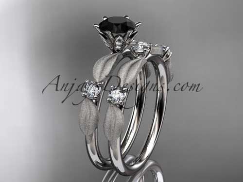platinum diamond unique leaf and vine engagement set, wedding set with a Black Diamond center stone ADER177S
