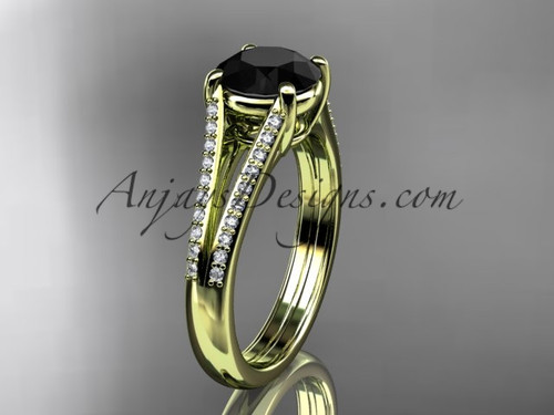 14kt yellow gold diamond unique engagement ring, wedding ring with a  Black Diamond center stone ADER108