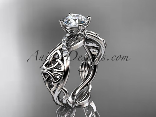 """14kt white gold diamond celtic trinity knot wedding ring, engagement ring with a """"Forever One"""" Moissanite center stone CT7270"""