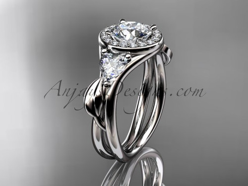 """Platinum diamond unique engagement ring, wedding ring with a """"Forever One"""" Moissanite center stone ADLR314"""