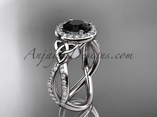 14kt white gold diamond celtic trinity ring,  triquetra ring, Irish engagement ring with a  Black Diamond center stone CT7374