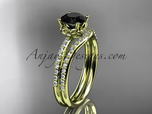 14kt yellow gold diamond floral wedding ring, engagement set with a Black Diamond center stone ADLR92S
