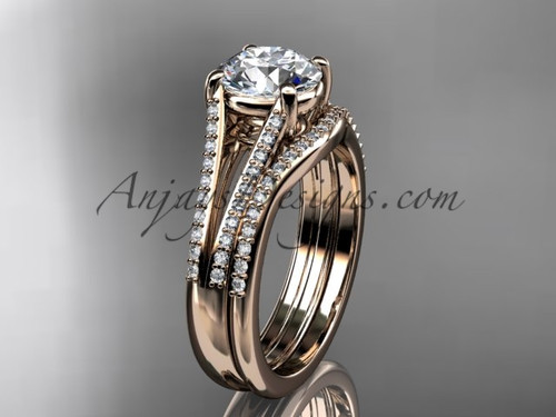 """14kt rose gold diamond unique engagement set, wedding ring with a """"Forever One"""" Moissanite center stone ADER108S"""
