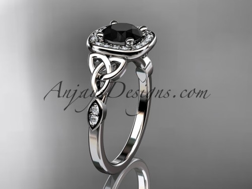 14kt white gold diamond celtic trinity knot wedding ring, engagement ring with a Black Diamond center stone CT7179