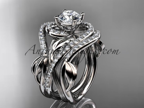 """Unique 14kt white gold diamond leaf and vine wedding ring, engagement ring with a """"Forever One"""" Moissanite center stone and double matching band ADLR222S"""