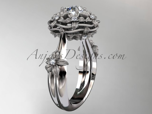 """14kt white gold diamond floral, leaf and vine \""""Basket of Love\"""" ring ADLR94 nature inspired jewelry"""