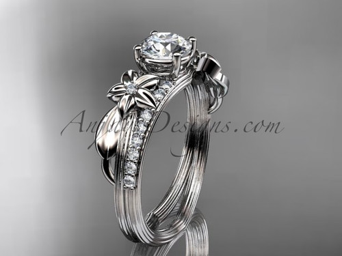 """14kt white gold diamond leaf and vine wedding ring, engagement ring with a """"Forever One"""" Moissanite center stone ADLR331"""