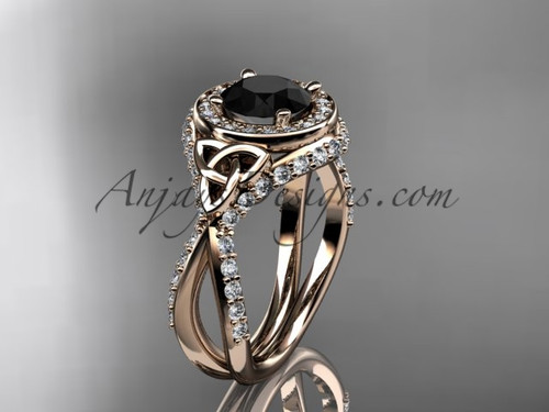 14kt rose gold diamond celtic trinity knot wedding ring, engagement ring with a Black Diamond center stone CT7416