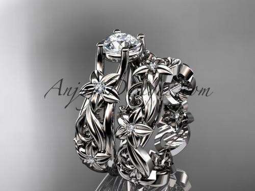 platinum diamond floral wedding set, engagement set ADLR216S