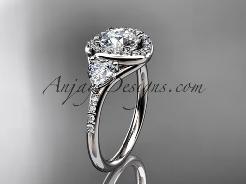 "14kt white gold diamond unique engagement ring,wedding ring with a ""Forever One"" Moissanite center stone ADLR201"