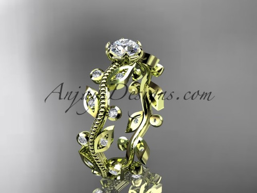 "14k yellow gold diamond floral leaf and vine wedding ring, engagement ring with a ""Forever One"" Moissanite center stone ADLR1"