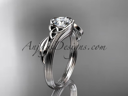 "14kt white gold celtic trinity knot wedding ring, engagement ring with a ""Forever One"" Moissanite center stone CT7324"