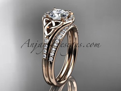 """14kt rose gold diamond celtic trinity knot wedding ring, engagement set with a """"Forever One"""" Moissanite center stone CT7126S"""