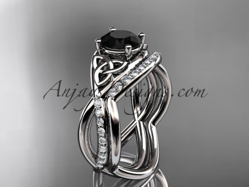 14kt white gold celtic trinity knot engagement set, wedding ring with a Black Diamond center stone CT790S