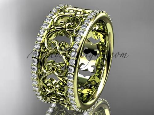 14kt yellow gold diamond engagement ring, wedding band ADLR423B