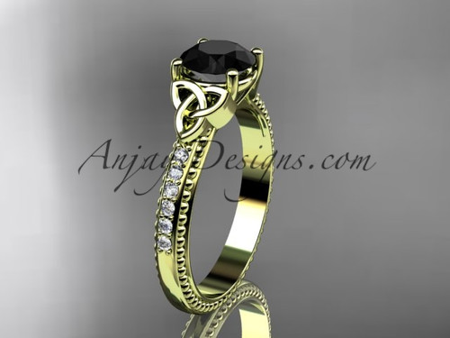 14kt yellow gold diamond celtic trinity knot wedding ring, engagement ring with a Black Diamond center stone CT7391