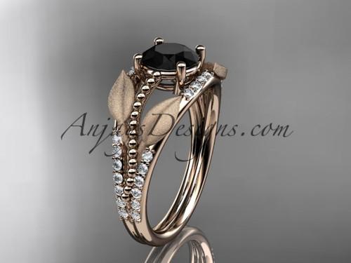 14kt rose gold diamond leaf and vine wedding ring, engagement ring with Black Diamond center stone ADLR75