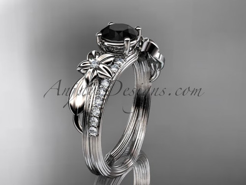14kt white gold diamond leaf and vine wedding ring, engagement ring with a Black Diamond center stone ADLR331