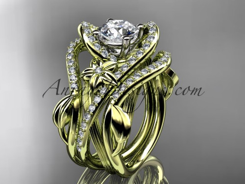 """14kt yellow gold diamond leaf and vine engagement ring with  """"Forever One"""" Moissanite center stone and double matching band  ADLR369S"""