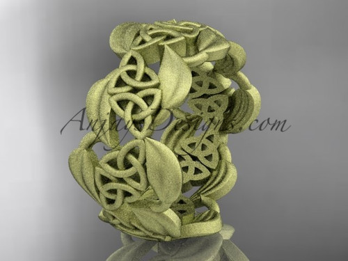 14kt yellow gold leaf and celtic trinity knot wedding band, matte finish wedding band, engagement ring CT7262G