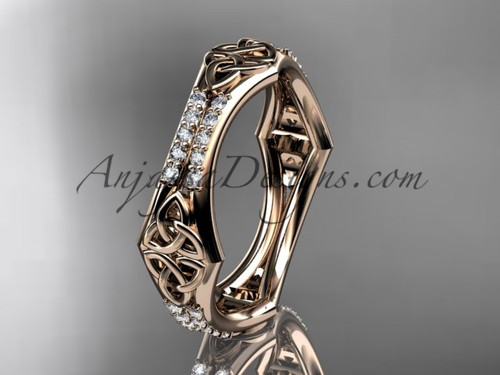 14kt rose gold diamond celtic trinity knot wedding band,  triquetra ring, engagement  ring CT7353B