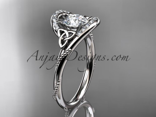 """14kt white gold diamond celtic trinity knot wedding ring, engagement ring with a """"Forever One"""" Moissanite center stone CT7166"""
