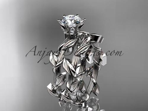 Unique 14kt white gold diamond floral wedding ring, engagement set ADLR248S