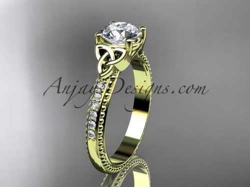 """14kt yellow  gold diamond celtic trinity knot wedding ring, engagement ring with a """"Forever One"""" Moissanite center stone CT7391"""