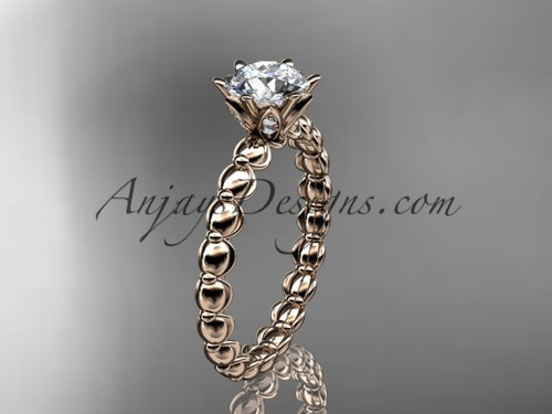 "14k rose gold diamond vine and leaf wedding ring, engagement ring with  ""Forever One"" Moissanite center stone ADLR34"