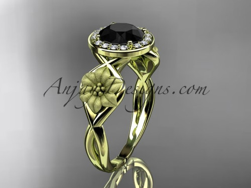 Unique 14kt yellow gold diamond flower wedding ring, engagement ring with a Black Diamond center stone ADLR219