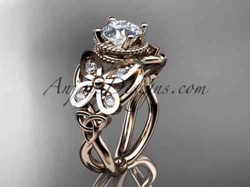 "14kt rose gold diamond celtic trinity knot  wedding ring,butterfly engagement ring  with a ""Forever One"" Moissanite center stone CT7136"