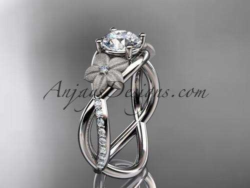 White Gold Bridal Ring, Flower Diamond Wedding Ring ADLR90
