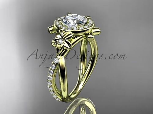14kt yellow gold diamond leaf and vine wedding ring, engagement ring ADLR89