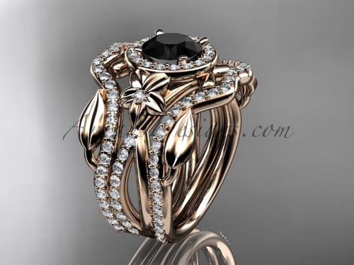 14kt rose gold diamond leaf and vine, flower engagement ring, wedding ring,  with  Black Diamond center stone and double matching band ADLR89S