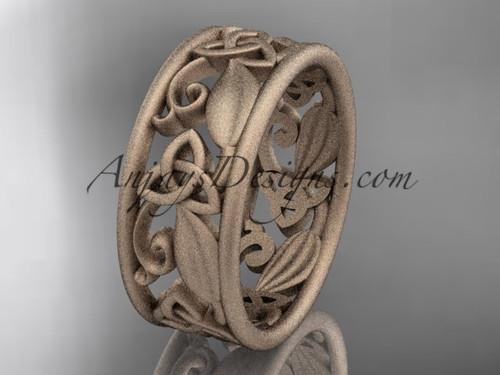 14kt rose gold celtic trinity knot wedding band,  matte finish wedding band, engagement ring CT7150G