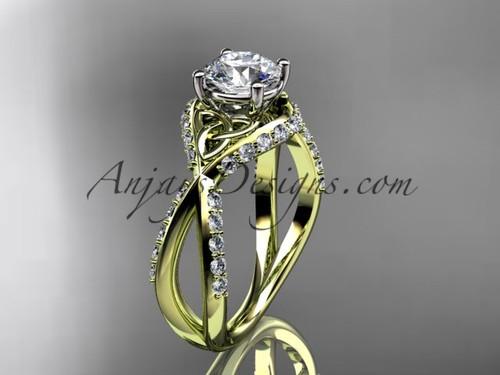 14kt yellow gold diamond celtic trinity knot wedding ring, engagement ring CT7218