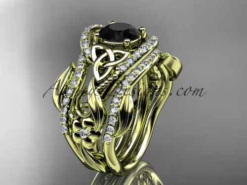 14kt yellow gold diamond celtic trinity knot wedding ring, engagement ring with a Black Diamond center stone and double matching band CT7211S