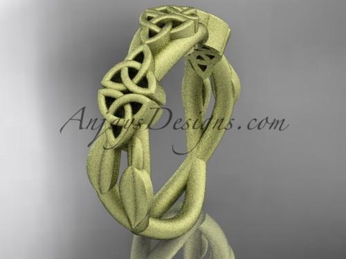 14kt yellow gold celtic trinity knot wedding band, matte finish wedding band, engagement  ring CT7204G