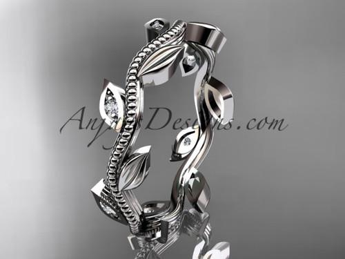 Platinum diamond leaf wedding ring, engagement ring, wedding band ADLR117B
