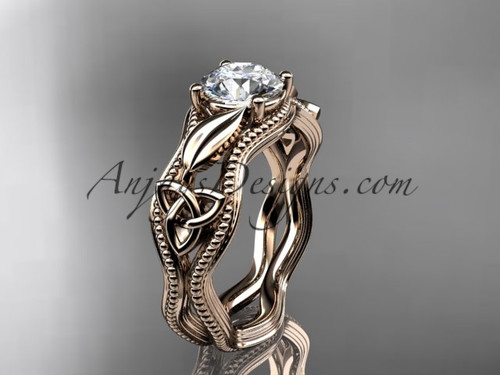 14kt rose gold diamond celtic trinity knot wedding ring, engagement ring CT7382