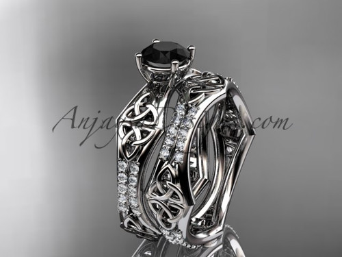 14kt white gold diamond celtic trinity ring,  triquetra ring, engagement  set with a  Black Diamond center stone CT7353S
