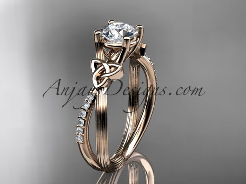 "14kt rose gold diamond celtic trinity knot wedding ring, engagement ring with a ""Forever One"" Moissanite center stone CT7214"