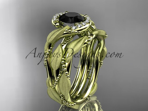 14kt yellow gold diamond leaf and vine wedding ring, engagement set with a Black Diamond center stone ADLR65S