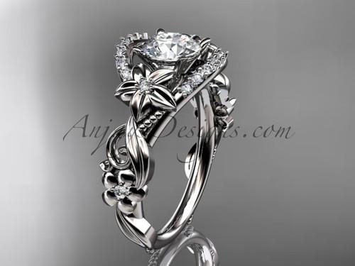 Unusual Platinum Bridal Ring, Flower Marriage Ring ADLR211