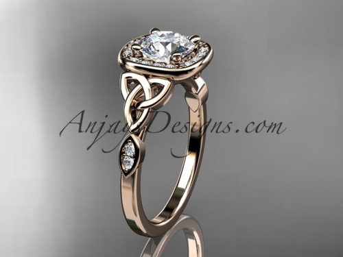 14kt rose gold diamond celtic trinity knot wedding ring, engagement ring CT7179