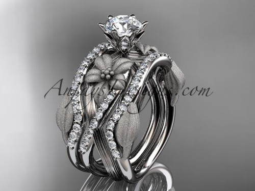"""Unique 14kt white gold diamond flower, leaf and vine wedding ring, engagement ring with a """"Forever One"""" Moissanite center stone and double matching band ADLR221S"""