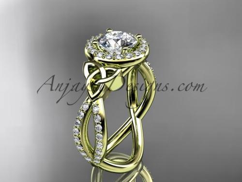 14kt yellow gold diamond celtic trinity ring,  triquetra ring,  Irish engagement ring CT7374