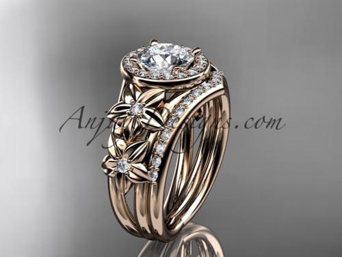 14kt rose gold diamond floral wedding ring, engagement set ADLR131S