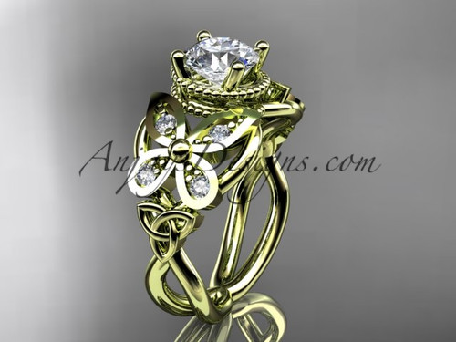 "14kt yellow gold diamond celtic trinity knot  wedding ring,butterfly engagement ring  with a ""Forever One"" Moissanite center stone CT7136"
